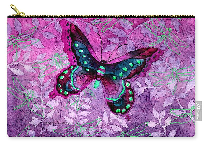 Butterfly Carry-all Pouch featuring the painting Purple Butterfly by Hailey E Herrera
