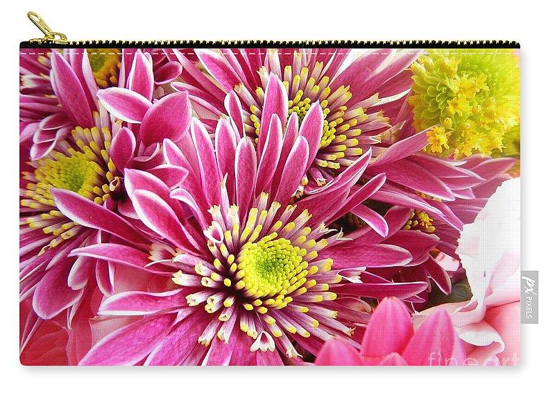 Purple Chrysanthemum Carry-all Pouch featuring the photograph Purple Chrysanthemum by Loreta Mickiene