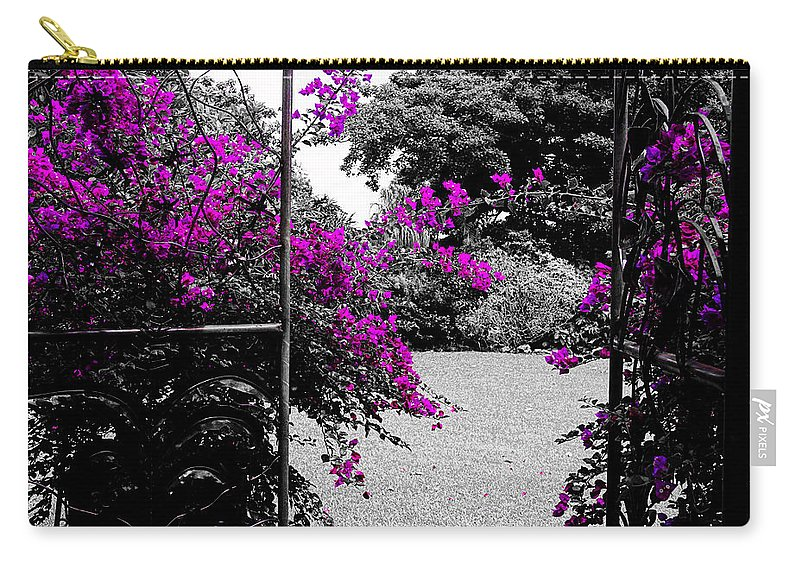 Bougainvilleas Carry-all Pouch featuring the photograph Purple Entrance by Douglas Barnard