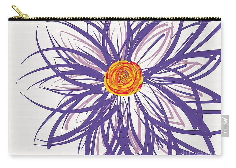 Purple Carry-all Pouch featuring the digital art Purple Flower by Meandering Photography