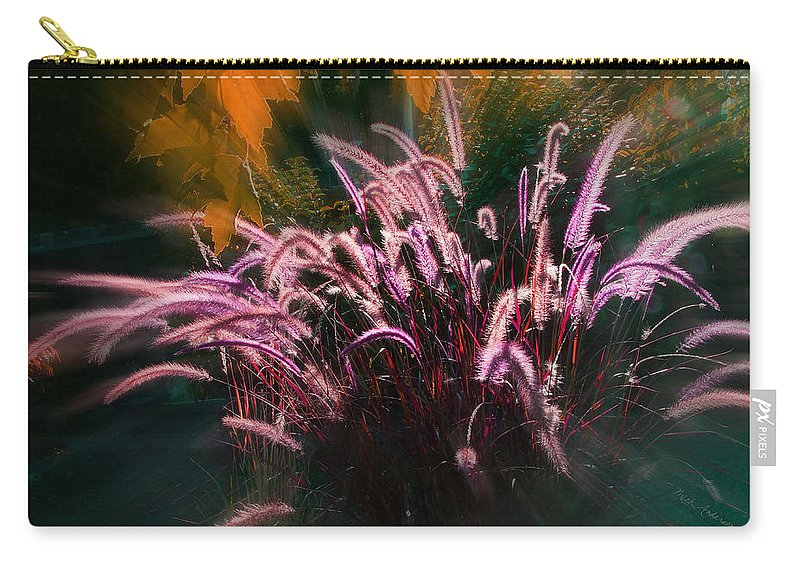 Purple Carry-all Pouch featuring the photograph Purple Fountain Grass Fantasy by Mick Anderson