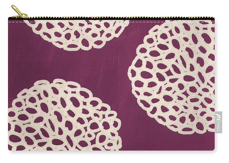 Purple Carry-all Pouch featuring the painting Purple Garden Bloom by Linda Woods