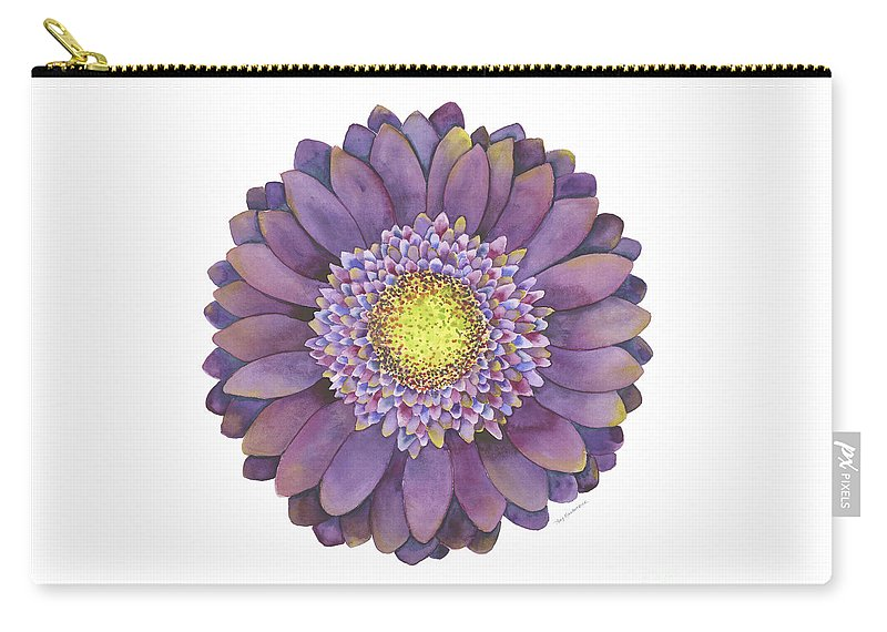 Flower Carry-all Pouch featuring the painting Purple Gerbera Daisy by Amy Kirkpatrick
