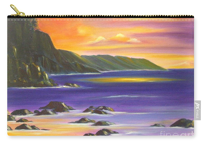 Hawaiian Carry-all Pouch featuring the painting Purple Haze In Hawaii by Dina Holland