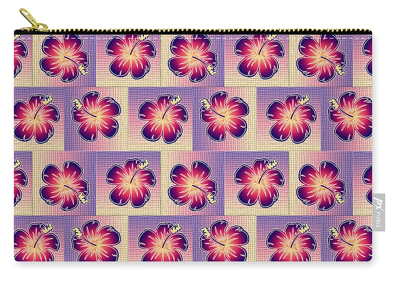 Hibiscus Carry-all Pouch featuring the digital art Purple Hibiscus Pattern by Gaspar Avila