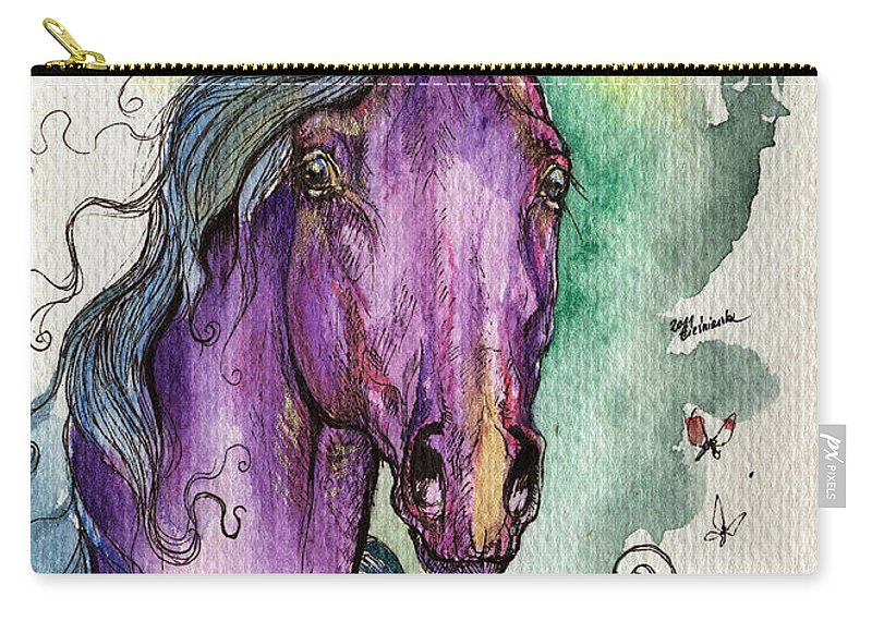 Fairytale Carry-all Pouch featuring the painting Purple Horse by Angel Ciesniarska