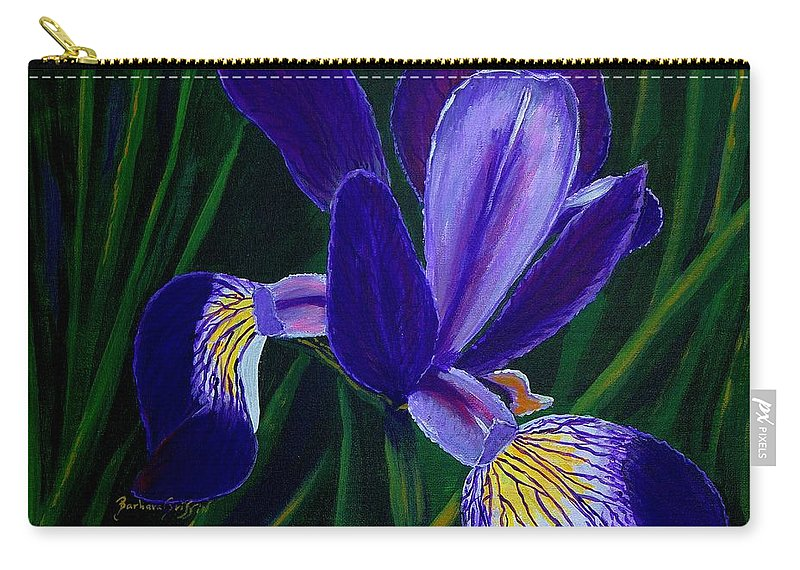 Barbara Griffin Carry-all Pouch featuring the painting Purple Iris by Barbara Griffin