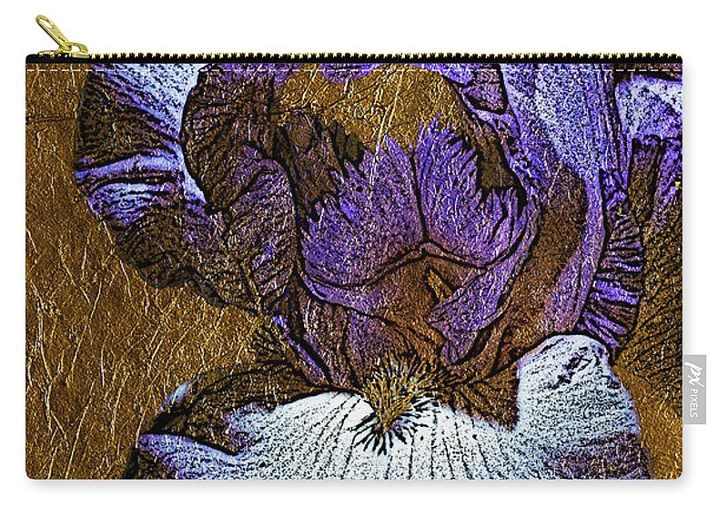 Iris Carry-all Pouch featuring the photograph Purple Iris Gold Leaf by Phyllis Denton
