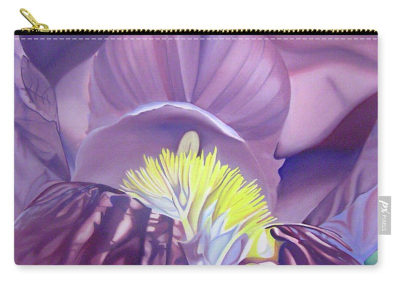 Flower Carry-all Pouch featuring the painting Purple Iris by Joshua Morton