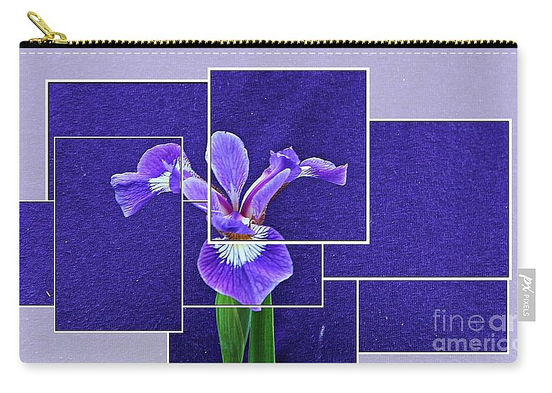 Purple Iris Montage Carry-all Pouch featuring the photograph Purple Iris Montage by Barbara Griffin