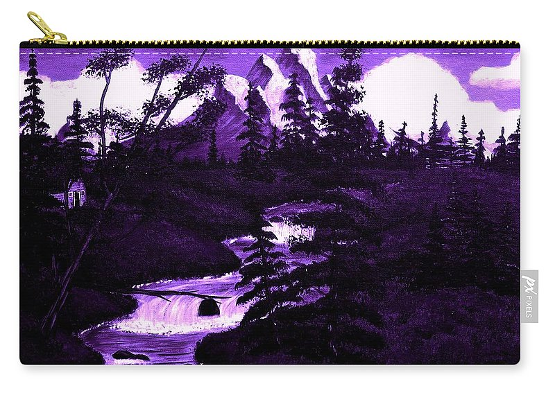 Purple Mountain Carry-all Pouch featuring the painting Purple Mountain by Barbara Griffin