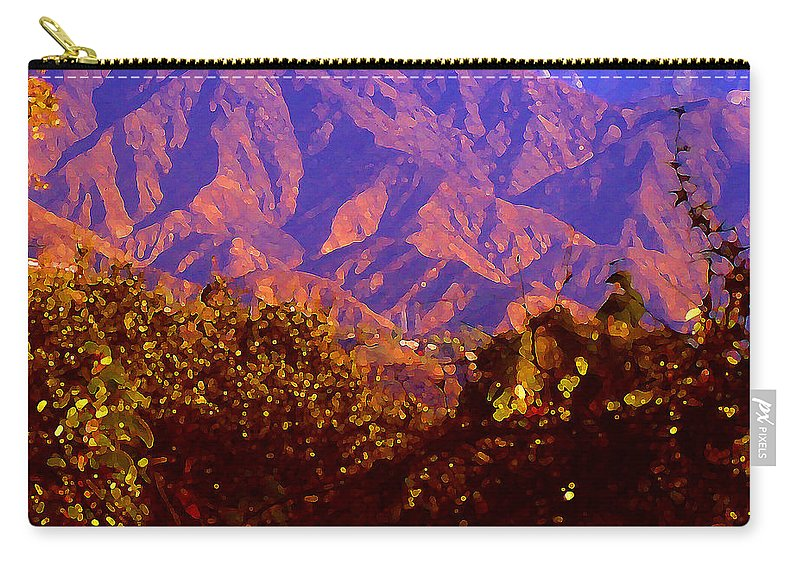 Landscapes Carry-all Pouch featuring the painting Purple Mountains Majesty by Amy Vangsgard