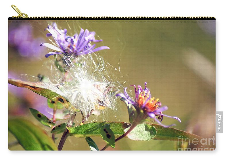 Purple Wild Flowers Carry-all Pouch featuring the photograph Purple Orange Flowers by Optical Playground By MP Ray