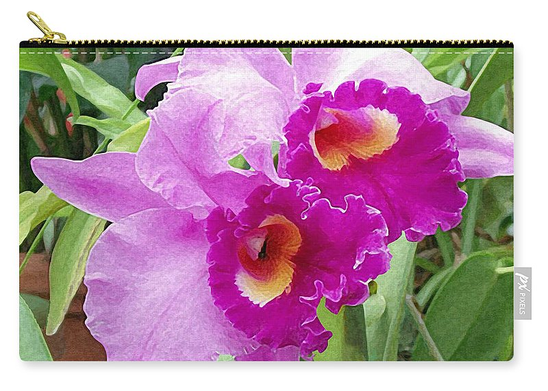 Purple Cattleya Orchids Carry-all Pouch featuring the painting Purple Cattleya Orchids by Ellen Henneke