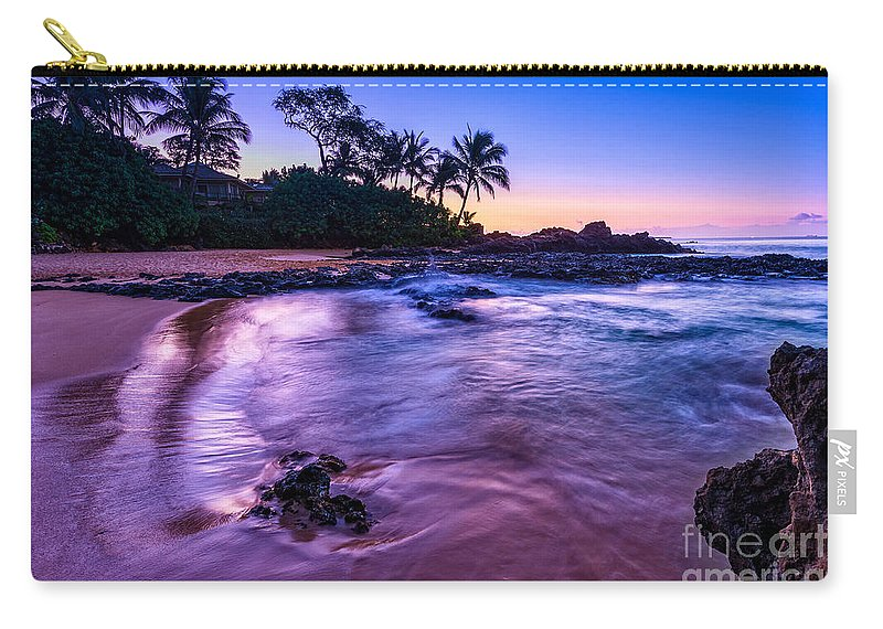 Secret Beach Carry-all Pouch featuring the photograph Purple Paradise by Jamie Pham