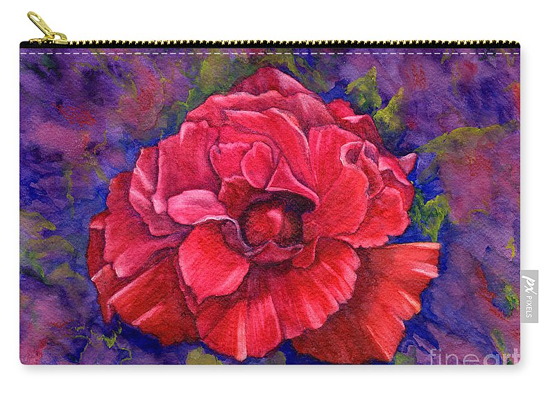 Red Rose Carry-all Pouch featuring the painting Purple Passion by Nancy Cupp