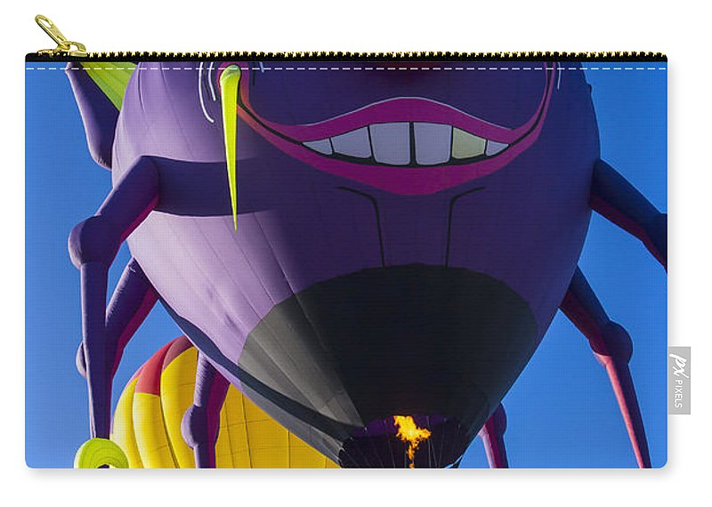 Purple People Eater Hot Air Balloon Carry-all Pouch featuring the photograph Purple People Eater And Friend by Garry Gay