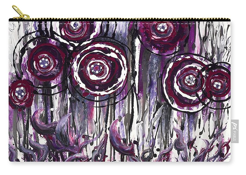 Poppies Carry-all Pouch featuring the painting Purple Poppies by Nadine Rippelmeyer