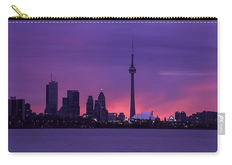 Toronto Carry-all Pouch featuring the photograph Purple Skyline by Richard Kitchen