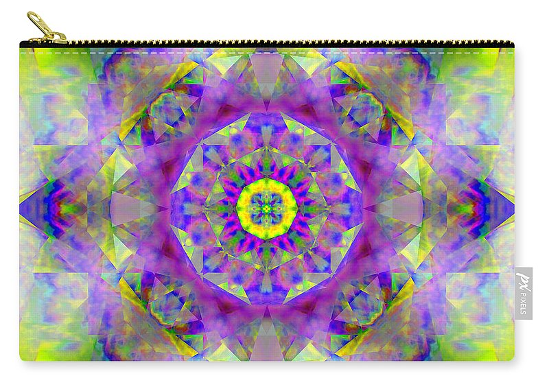 Yantra Carry-all Pouch featuring the photograph Purple Star Yantra Mandala by Susan Bloom