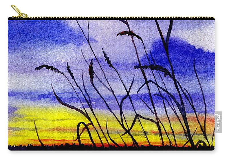 Watercolor Carry-all Pouch featuring the painting Purple Sunset by Brenda Owen