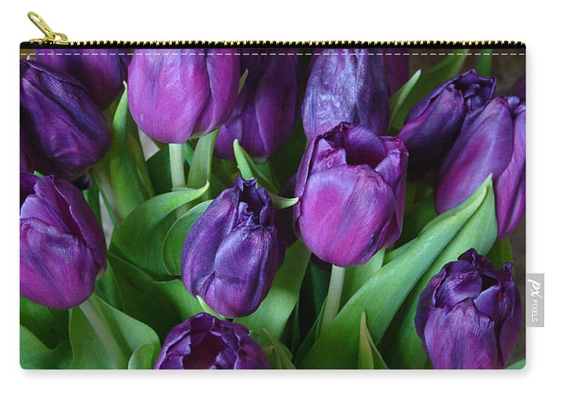 Purple Carry-all Pouch featuring the photograph Purple Tulips by Carol Lynch