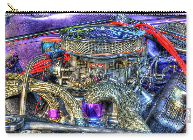 Old Car Carry-all Pouch featuring the photograph Purple Under The Hood by Thomas Young