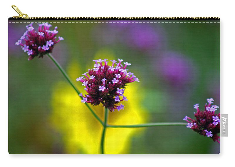 Purple Carry-all Pouch featuring the photograph Purple Verbena Flowers by Karen Adams