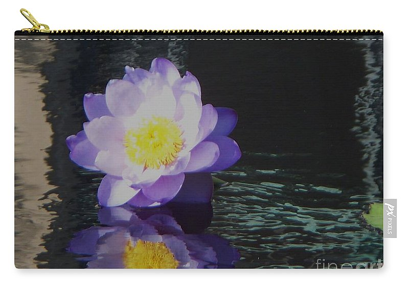 Photograph Carry-all Pouch featuring the photograph Purple White Yellow Lily by Eric Schiabor