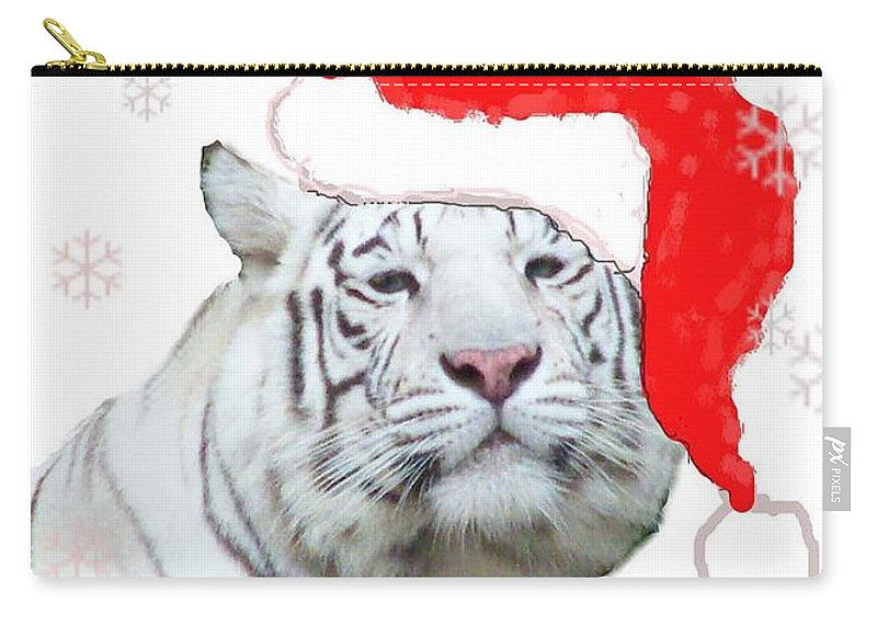 Tiger Carry-all Pouch featuring the mixed media Purrfect Holiday by Lizi Beard-Ward