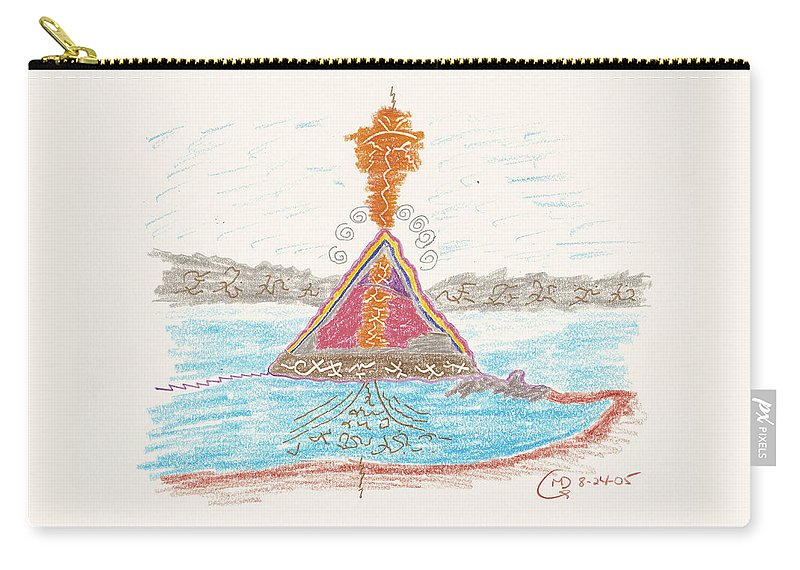 Pyramid Carry-all Pouch featuring the drawing Pyramid Lake - Nevada by Mark David Gerson