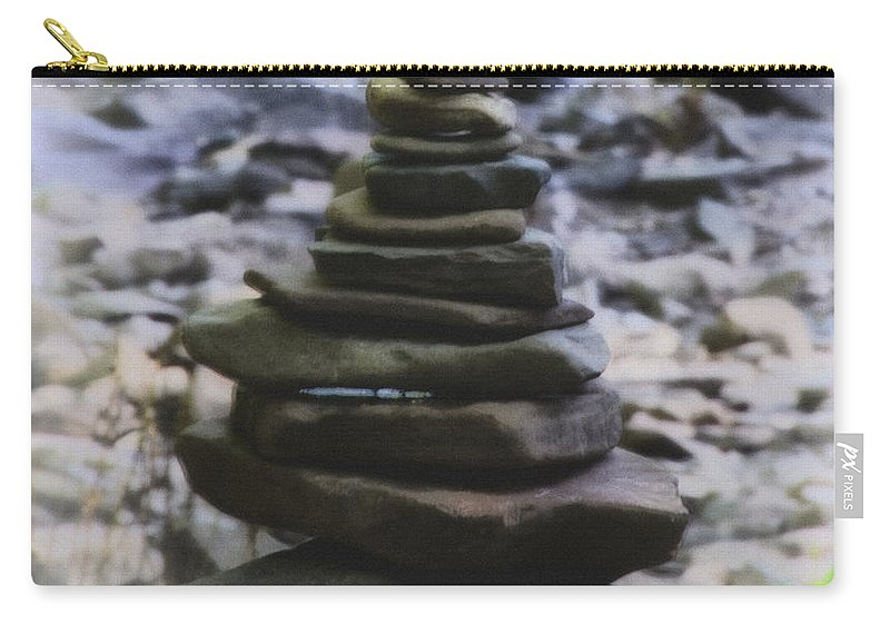 Pyramid Carry-all Pouch featuring the photograph Pyramid Of Rocks by Bill Cannon