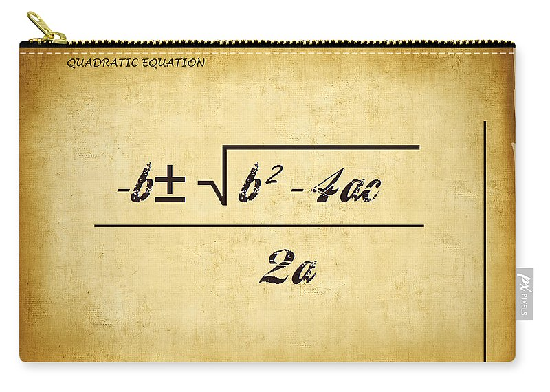 Featured Carry-all Pouch featuring the digital art Quadratic Equation - Aged by Paulette B Wright