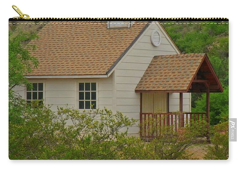 Quaint Old Desert Church Carry-all Pouch featuring the photograph Quaint Old Desert Church by John Malone