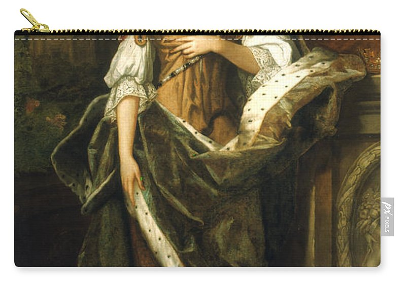 1690 Carry-all Pouch featuring the painting Queen Anne Of England (1665-1714) by Granger