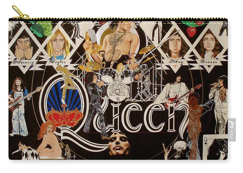 Freddie Mercury;brian May;roger Taylor;john Deacon;guitars;crown;royal;grapes;strawberries;drums; Carry-all Pouch featuring the drawing Queen - Black Queen White Queen by Sean Connolly