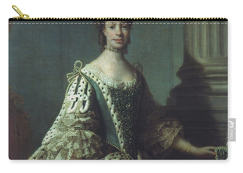 1762 Carry-all Pouch featuring the painting Queen Charlotte (1744-1818) by Granger