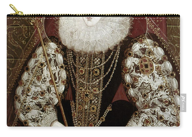 1585 Carry-all Pouch featuring the painting Queen Elizabeth I (1533-1603) by Granger