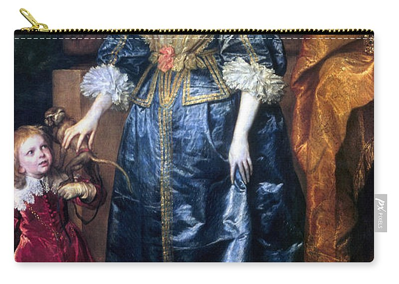 1633 Carry-all Pouch featuring the painting Queen Henrietta Maria (1609-69) by Granger