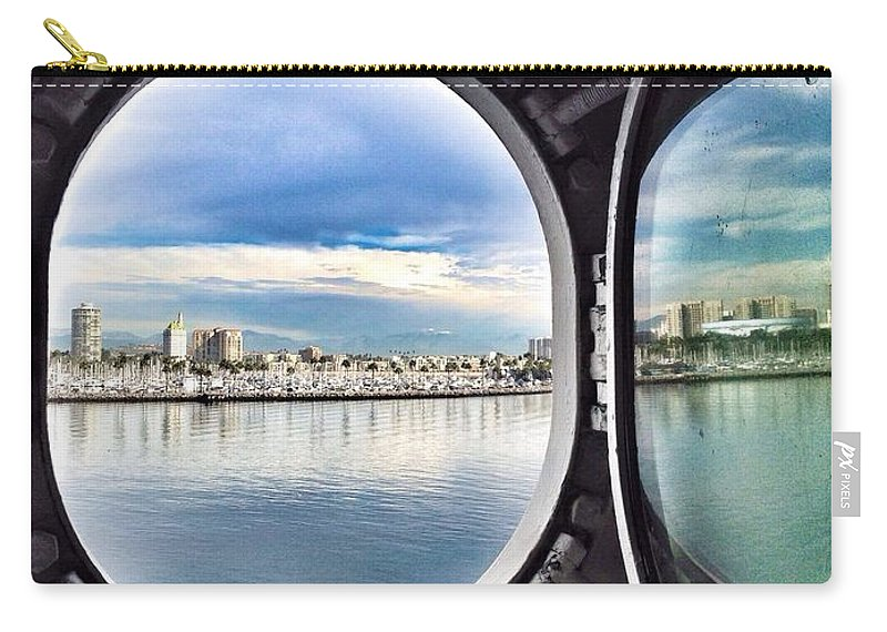 Queen Mary State Room Port Hole View Carry-all Pouch featuring the photograph Queen Mary Starboard View by Susan Garren