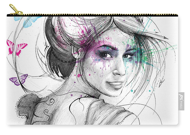 Butterflies Carry-all Pouch featuring the drawing Queen of Butterflies by Olga Shvartsur