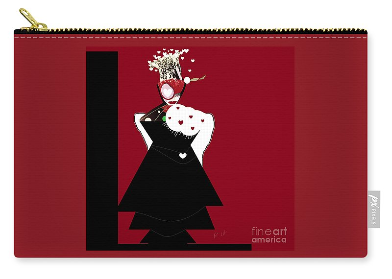 Queen Carry-all Pouch featuring the digital art Queen Of Hearts by Ann Calvo