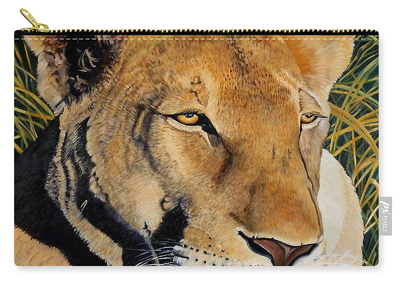 Lion Carry-all Pouch featuring the painting Queen Of The African Savannah by Caroline Street