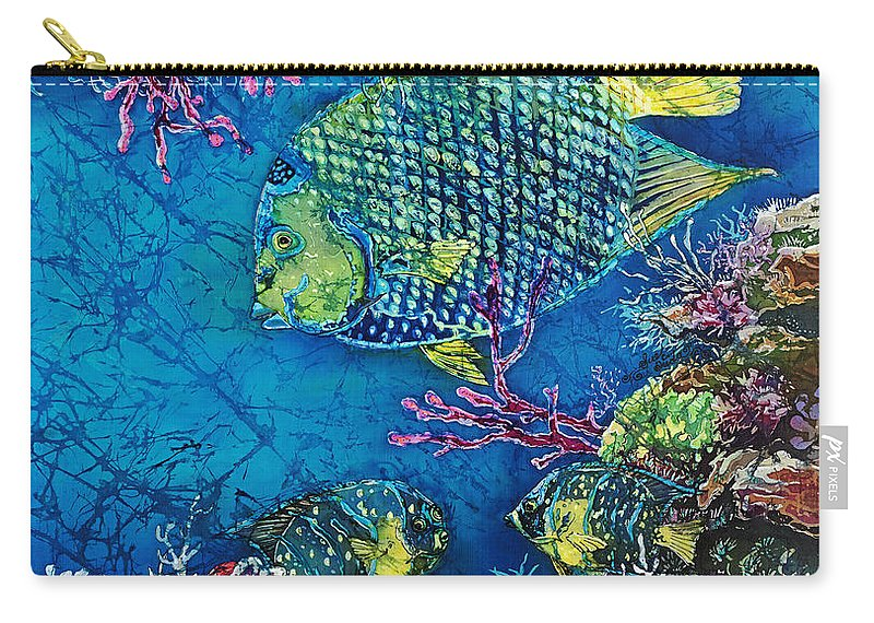 Angelfish Carry-all Pouch featuring the painting Queen Of The Sea by Sue Duda