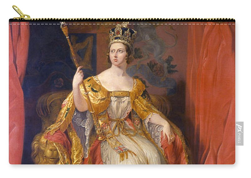 1838 Carry-all Pouch featuring the painting Queen Victoria Of England (1819-1901) by Granger