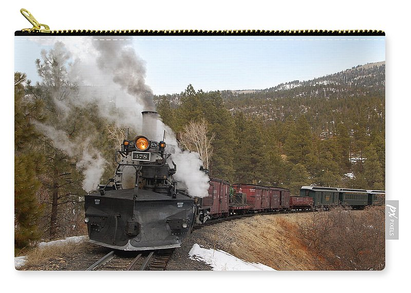 Steam Train Carry-all Pouch featuring the photograph Quick Stop On The Line by Ken Smith