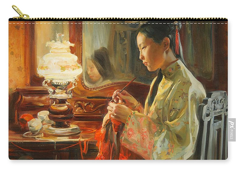 China Carry-all Pouch featuring the painting Quiet evening by Victoria Kharchenko