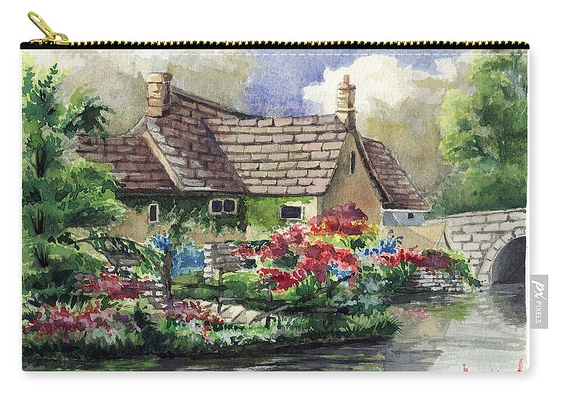 House Carry-all Pouch featuring the painting Quiet House Along The River by Alban Dizdari