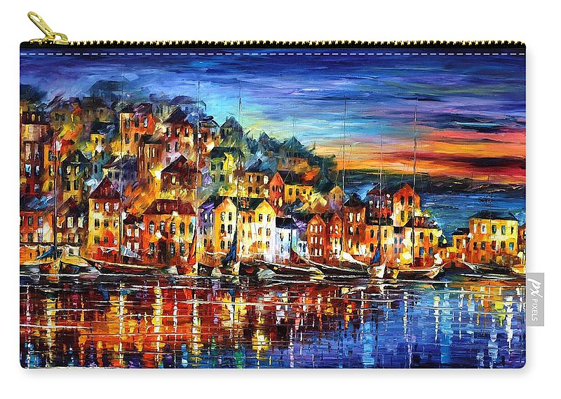 Palette Carry-all Pouch featuring the painting Quiet Town - PALETTE KNIFE Cityscape Oil Painting On Canvas By Leonid Afremov by Leonid Afremov