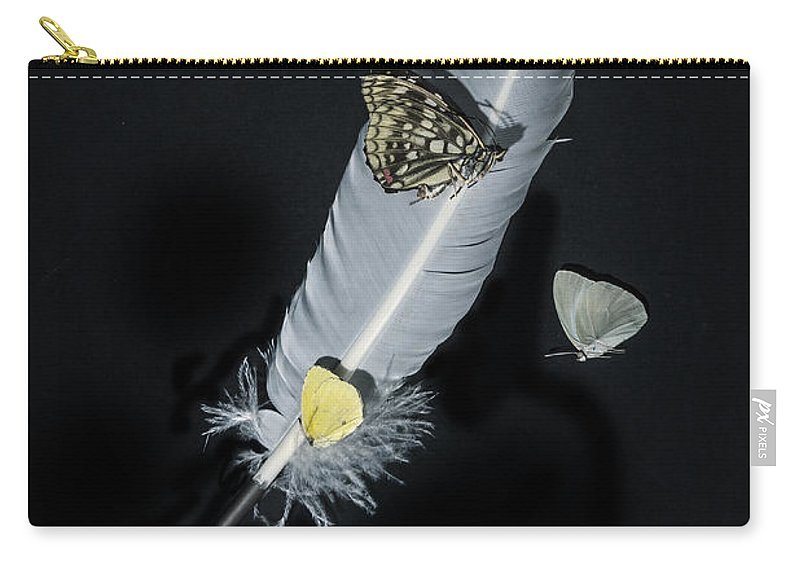 Quill Carry-all Pouch featuring the photograph Quill With Butterflies by Joana Kruse